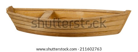 Wooden boat with a bench in the middle of the boat - path included - stock photo