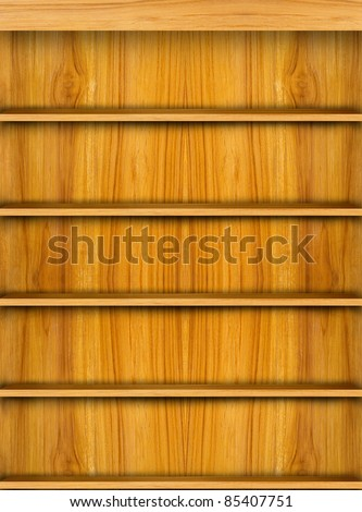 Wooden book shelf background for ebook for modern tablet pc - stock photo