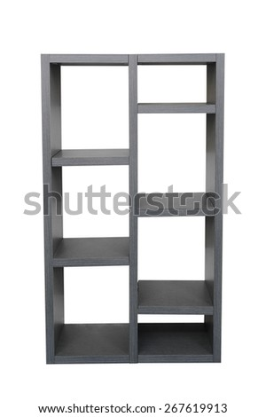 Wooden bookcase isolated on a white background - stock photo