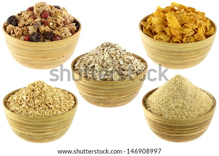 Wooden bowl full of Breakfast Cereal Set: Crunchy Bircher Muesli, Oatmeal, Cornflakes, Corn Cereal, Germinated Brown Rice isolated on white background - stock photo