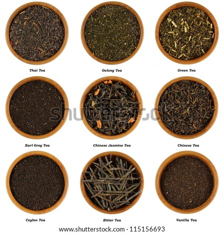 Wooden bowl full of different kinds of dried Tea Leaves isolated on white background, Thai tea, Oolong, Green tea, Earl gray tea, Chinese Jasmine tea, Chinese tea, Ceylon tea, bitter tea, Vanilla tea - stock photo