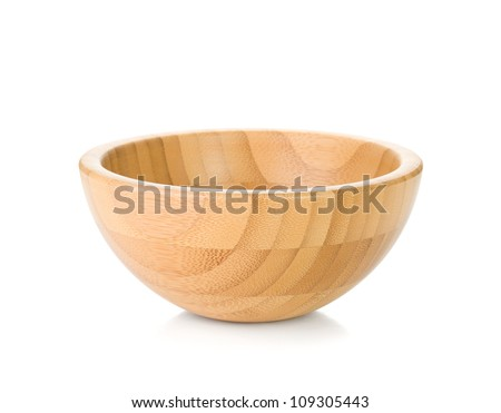 Wooden bowl. Isolated on white background - stock photo