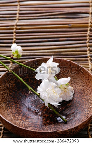 Wooden bowl of brunch cherry blossoms on mat - stock photo