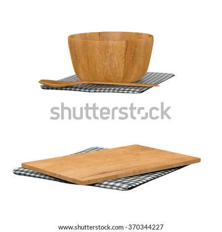 wooden bowl with spoon and chopping board on white background - stock photo