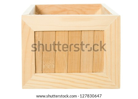 Wooden box close-up isolated on white background - stock photo