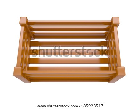 Wooden box for fruits and vegetables. Isolated render on a white background - stock photo