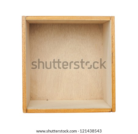 Wooden box of cedar wood. White isolated - stock photo