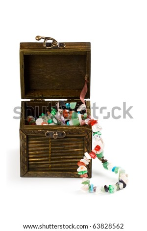 wooden box with fashion beads isolated on white background - stock photo