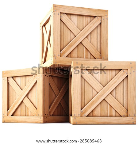 wooden boxes isolated on white background. - stock photo
