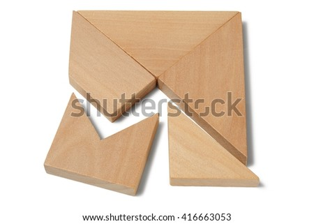 Wooden brain teaser isolated on white background - stock photo