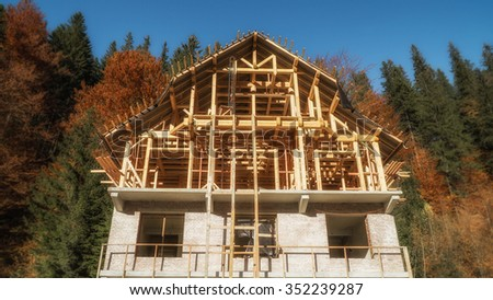Wooden brick Half-timbered house under construction - stock photo