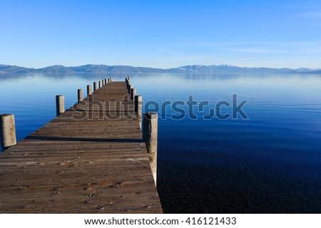 Wooden bridge at Lake Tahoe - stock photo