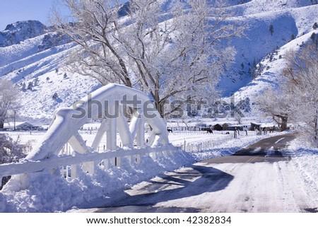 Wooden Bridge in Snow - stock photo