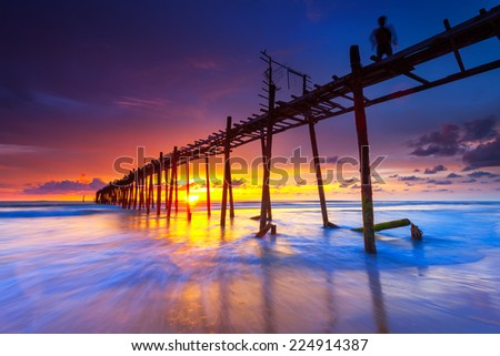 Wooden Bridge, Phangnga, Thailand - stock photo