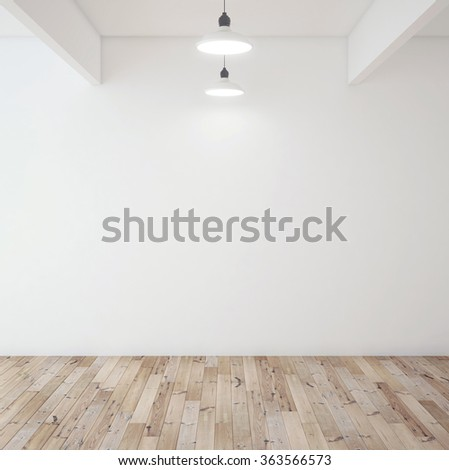 wooden brown parquet in room and lamp - stock photo