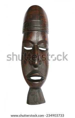Wooden brown ritual mask - stock photo