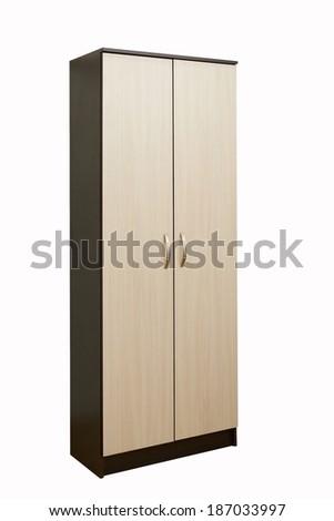 wooden brown wardrobe on a white - stock photo