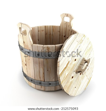 Wooden bucket for a bath Prolong the lid open isolated on white background - stock photo