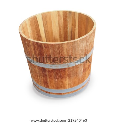 wooden bucket isolated on white background - stock photo