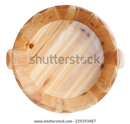 Wooden bucket isolated on white background - stock photo