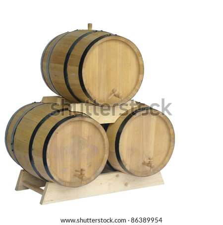 Wooden butts for wine on a white background - stock photo