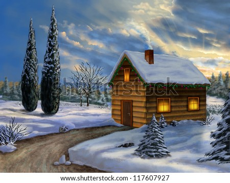 Wooden cabin in a snowy christmas landscape. Digital illustration. - stock photo