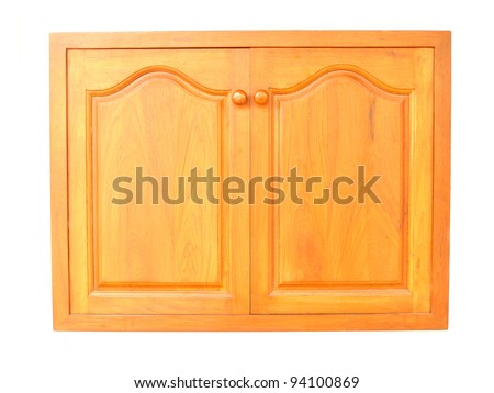 wooden cabinet doors isolated on white background - stock photo