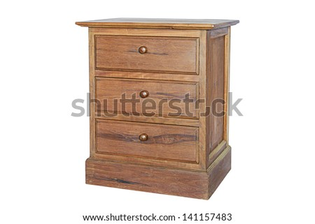 Wooden cabinet isolated on white background - stock photo