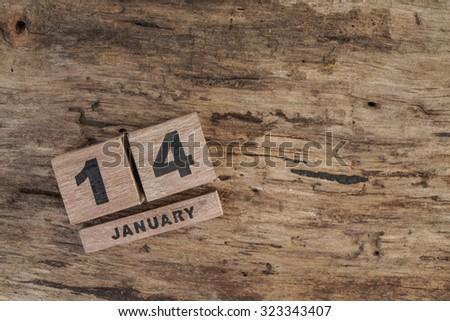 wooden calendar for january - stock photo