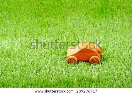 Wooden car toy - stock photo