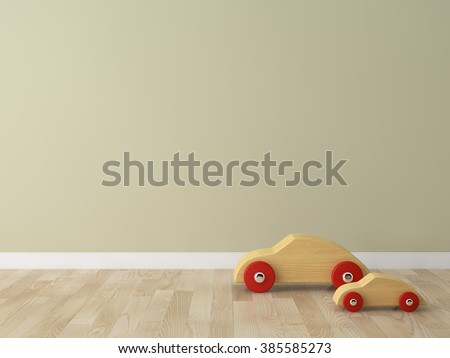 wooden car toy in the kids room Interior 3d rendering image  - stock photo