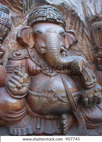 wooden carving of lord ganesha - stock photo