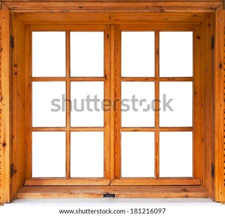 Wooden casement window exterior side - stock photo