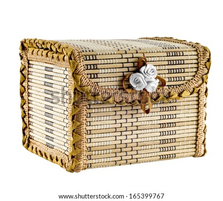 Wooden casket isolated on white background. - stock photo