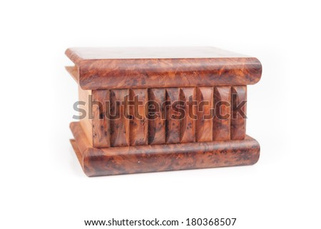 Wooden casket on white background - stock photo