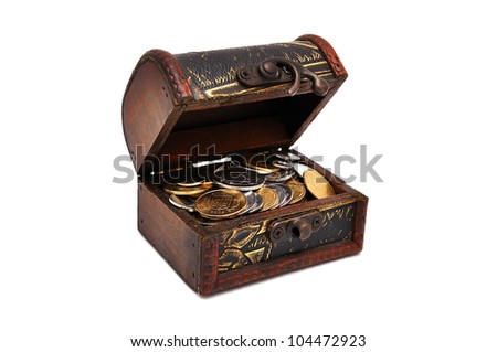 wooden casket with coins  with white background - stock photo