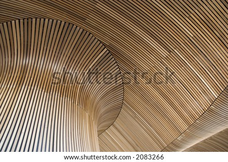 Wooden ceiling of Wales Assembly Government building in Cardiff Bay. Architecural details. Perhaps an interesting design background. - stock photo