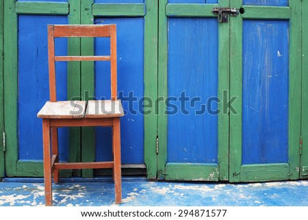 wooden chair as vintage background. - stock photo