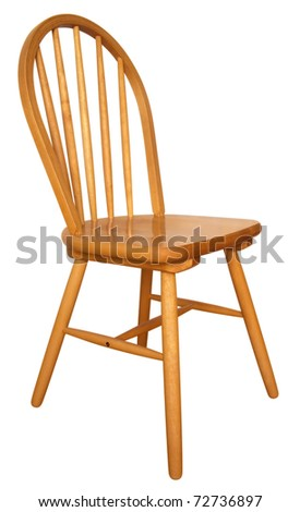 Wooden chair isolated on the white background. Clipping path includes. - stock photo