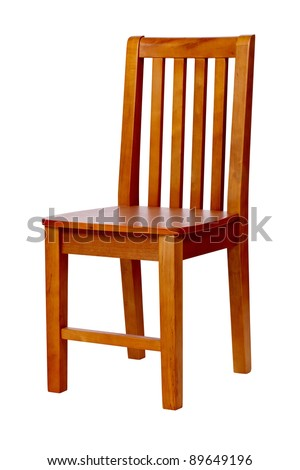 Wooden chair isolated over white, with clipping path - stock photo