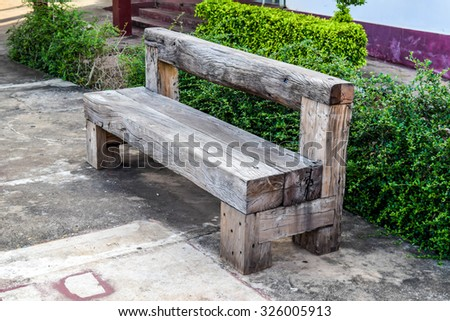 Wooden Chair made of railroad sleeper - stock photo