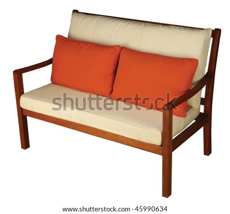 Wooden Chair with Cushion isolated with clipping path - stock photo