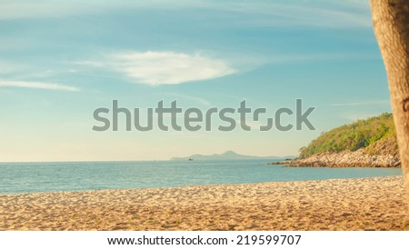 Wooden chair with Marine evening chonburi Thailand - stock photo