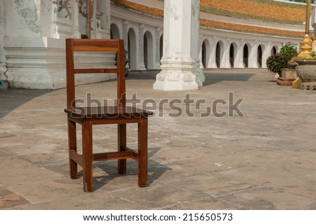 Wooden chairs in the Temple - stock photo