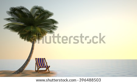 Wooden chaise lounge in the yellow-blue-striped standing under a palm tree on the yellow sand on the beach early in the morning or late evening - stock photo