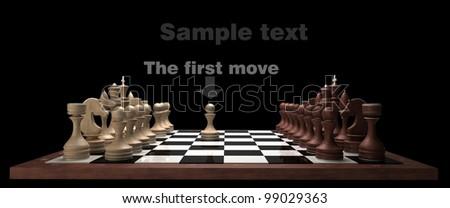 wooden Chess on black blackboard High resolution. 3D image - stock photo