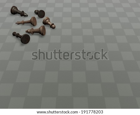 wooden chess on empty floor, universal background with empty space for your text - stock photo
