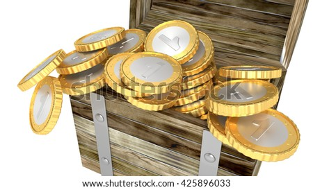 Wooden chest full of coins isolated 3d render - stock photo