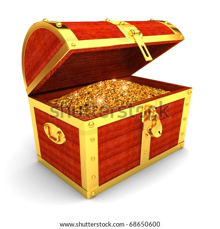 Wooden chest with gold coins - stock photo