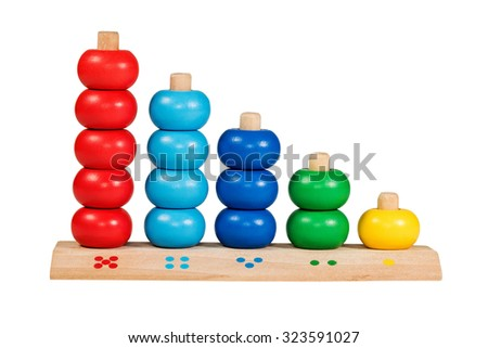 Wooden children toy scores from one to five of the colored rings isolated on a white background - stock photo